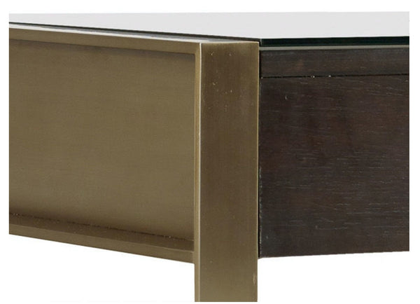 "Desk - Curata Glass-top, Brass 66""W"