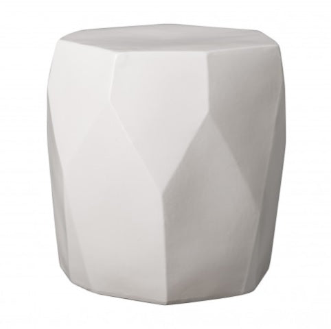 Facet Garden Stool, White