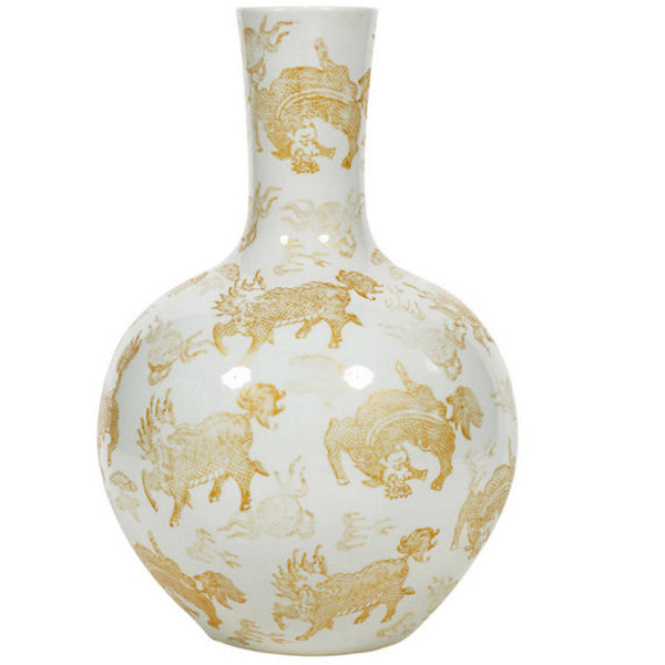 Globular Vase, White and Gold Kylin