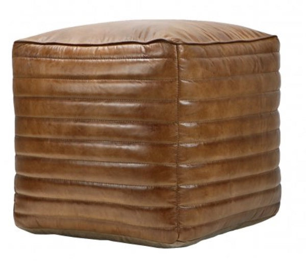 "Leather, Tackshop Pouf Stool - 15.5"" Square"