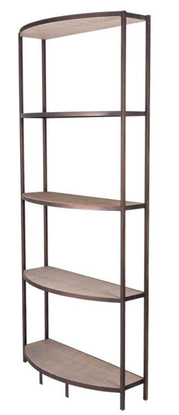 "Banks Bookshelf, Metal / Rattan 83""H"