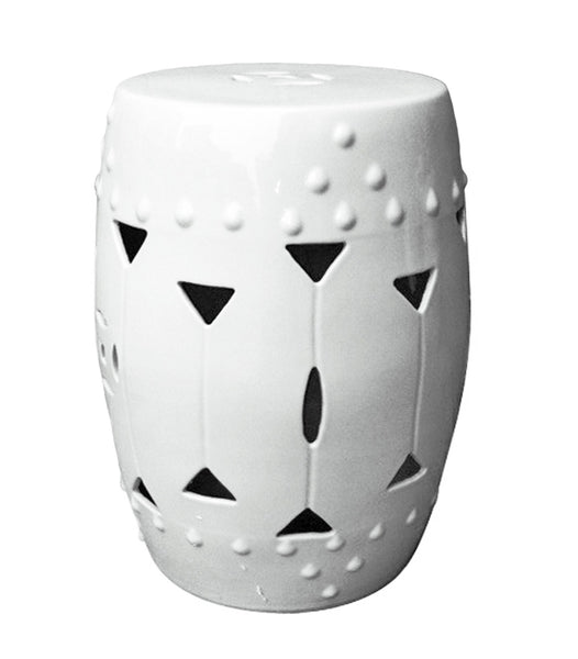 Garden Stool - Carved Triangle, White