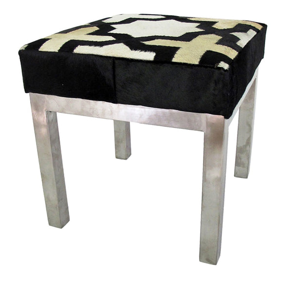 Leather, Hide Stool - Moorish Quatrefoil