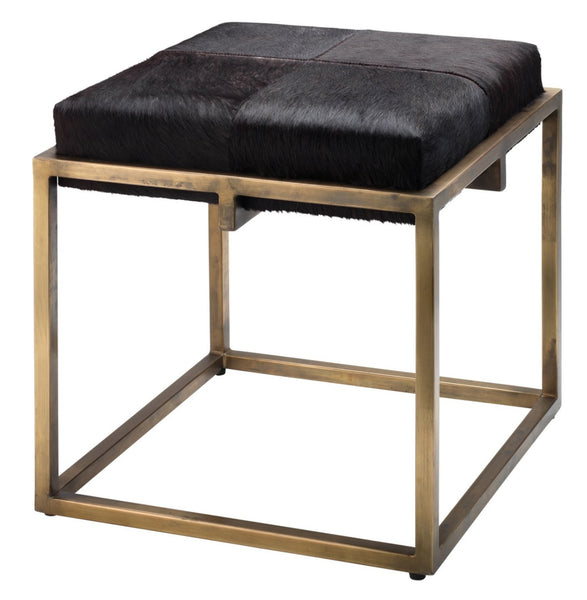 Leather - Shelby Stool, Brass/Espresso Hide