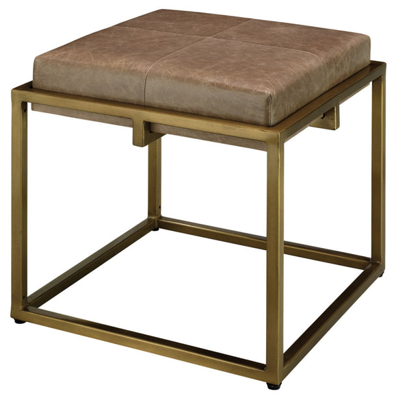 Leather - Shelby Stool, Brass/Brown
