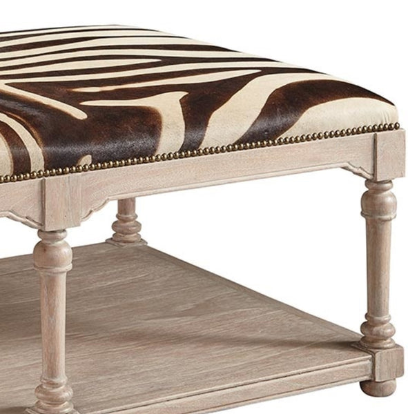 Leather - Zebra Cocktail Ottoman, 51""