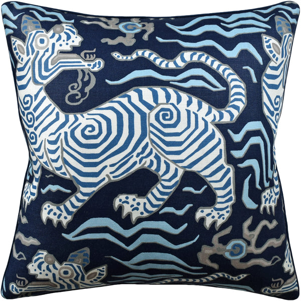 Tibet (Tiger) Pillow, Blues