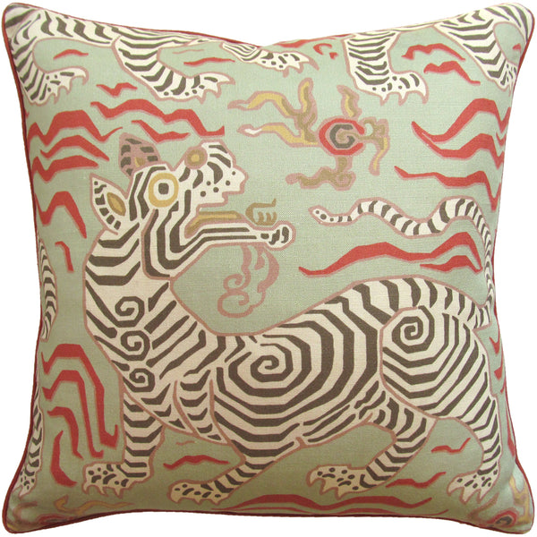 Tibet (Tiger) Pillow, Pale Green