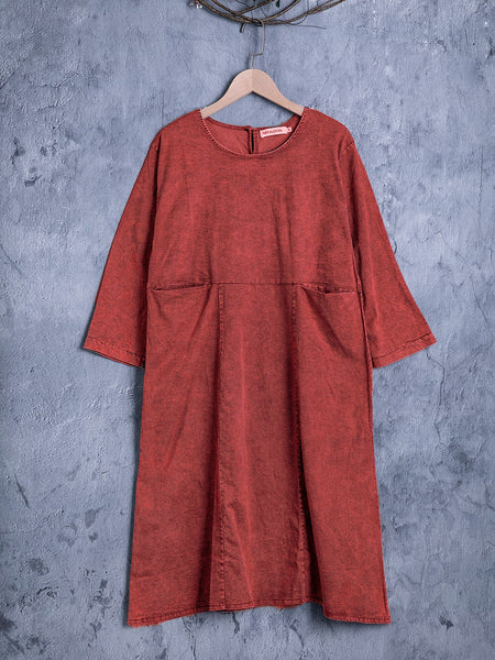 Casual Long Sleeve Tunic Linen Plus Size Dress