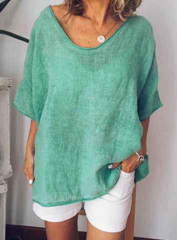 Plus Size Short Sleeve T-Shirt Casual V Neck Blouse