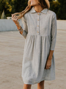 Gray 3/4 Sleeve Buttoned Striped Dress