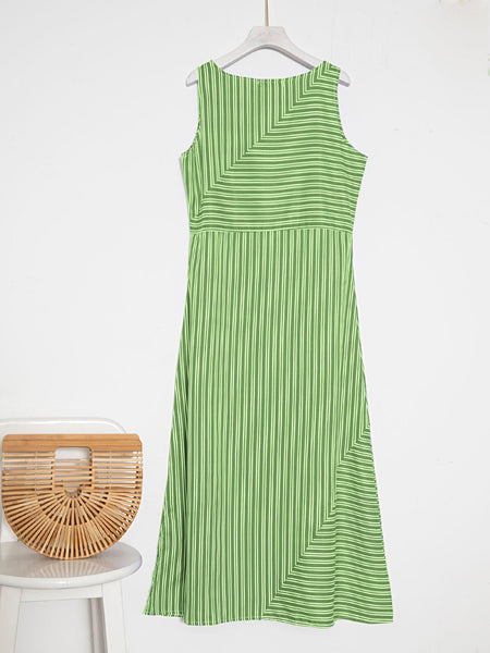 Holiday Shift Slit Striped Sleeveless Dress