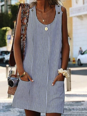 Women Shift Daily Boho Pockets Striped Dress