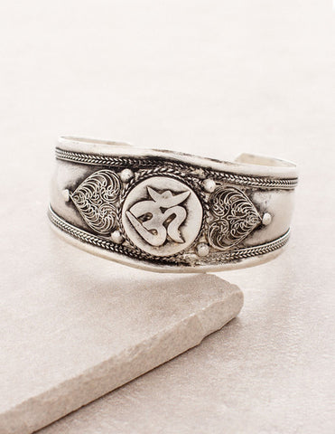 Antiqued Om Cuff Bracelet