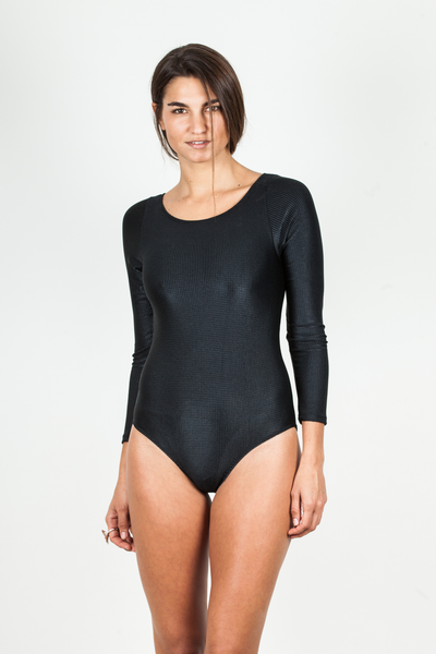 Body Suit - Black Ribbed