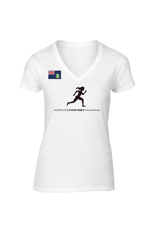 Team British Virgin Islands Running Woman Dry Blend V-Neck Shirt