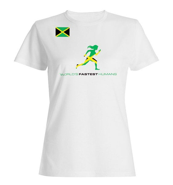 Team Jamaica Flag Running Woman Dry Blend Shirt (Y)