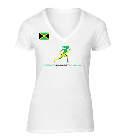 Team Jamaica Flag Running Women Dry Blend V-Neck Shirt