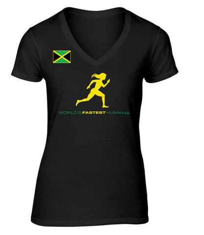 Team Jamaica Running Women V-Neck Shirt