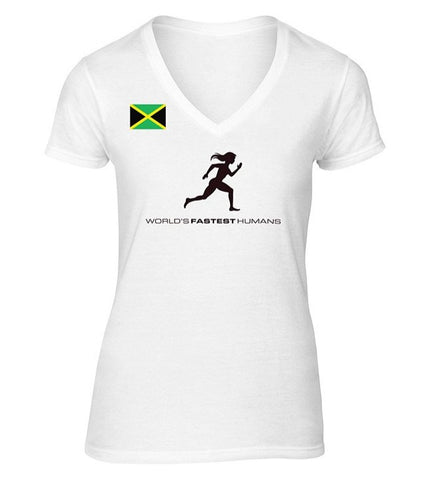 Team Jamaica Running Women Dry Blend V-Neck Shirt