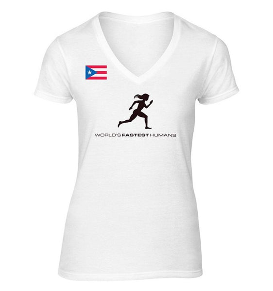 Team Puerto Rico Running Woman Dry Blend V-Neck Shirt