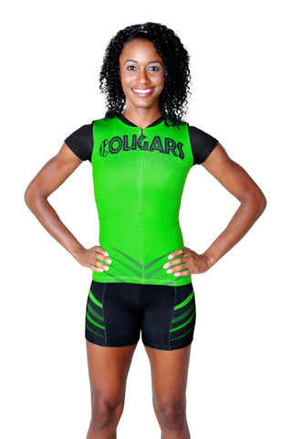 T09301 - Custom Sublimated Compression Cap Sleeve Zip Top with Compression Short