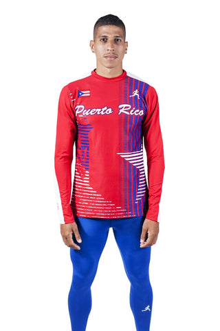 T15122 - Custom Sublimated Long Sleeve Tight Top with Non-Sublimated Tight Bottom