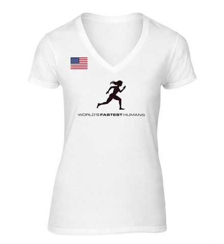 Team USA Running Woman Dry Blend V-Neck Shirt