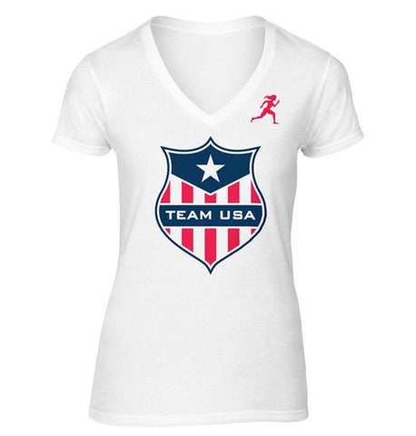 Team USA Shield Dry Blend V-Neck Shirt