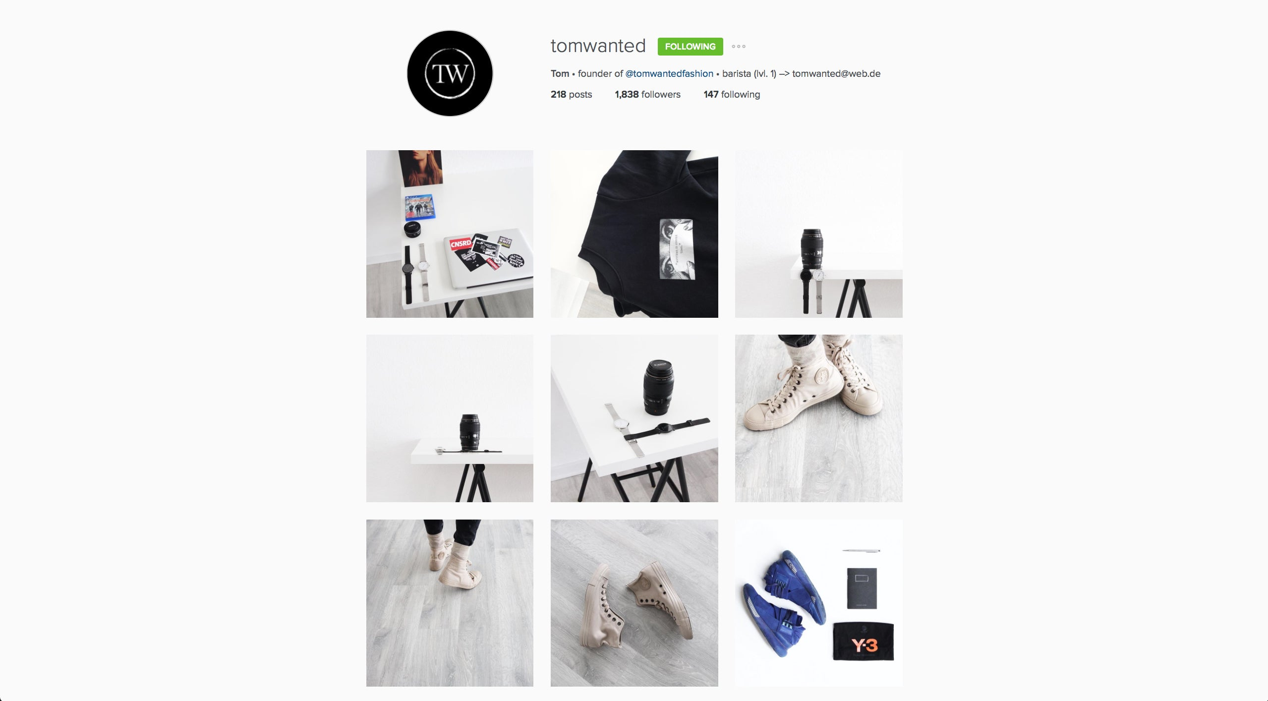 Tom Wanted x Avid & Co. Instagram Account of the week