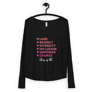 Diversity Words - Pink / Black Long Sleeve Tee