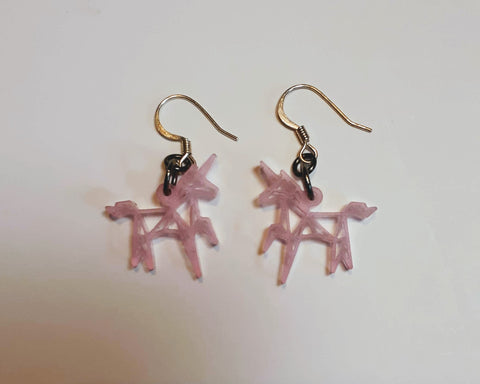 Pink Origami Unicorn Earrings