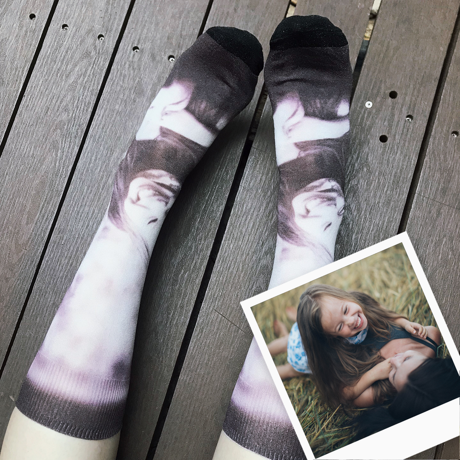 Breezy & Sparkly: Black & White Photo Socks