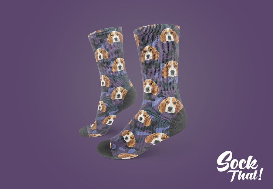 Camo Custom Animal Face Socks 🌳 - Sock That!