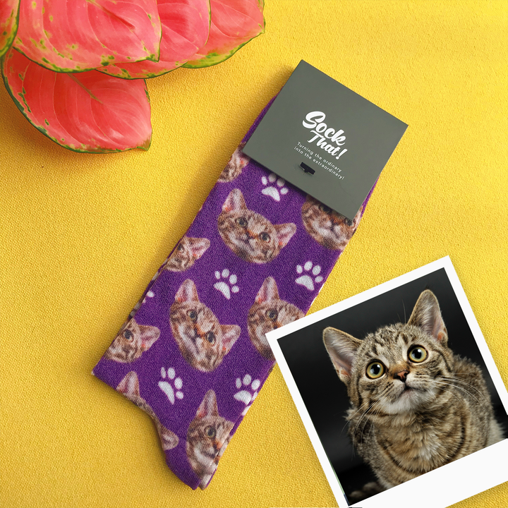 Breezy & Sparkly: Custom Cats & Paws Face Socks 🐱