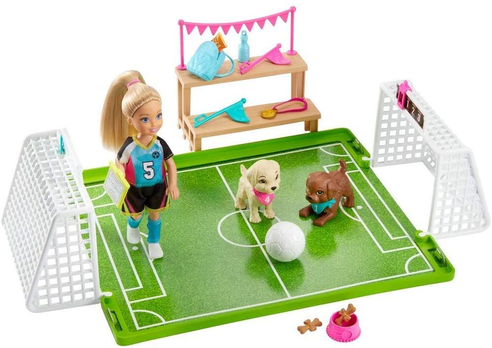 Barbie Chelsea Football Playset, with Chelsea doll and 2 puppy friends - TOYBOX Toy Shop