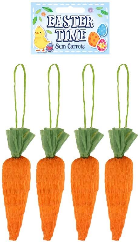 Easter Time 8cm Carrots - 4 Pack Arts & Crafts Fun