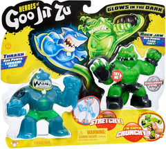 Heroes of Goo Jit Zu - 2 Pack of Glow in The Dark Action Figures Action Toy Goo Jit Zu Thrash Vs Rockjaw