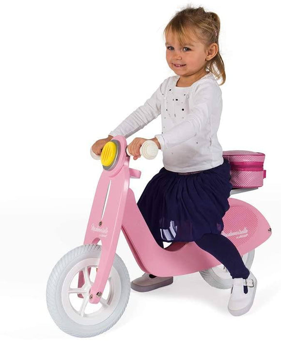 Janod - Mademoiselle Pink Wooden Scooter Balance Bike - Retro Vintage Look - TOYBOX Toy Shop