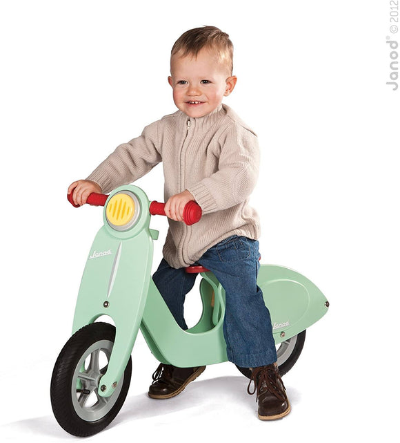 Janod Wooden Kids Scooter Mint - Balance Scooter with Vintage Retro Look - TOYBOX Toy Shop