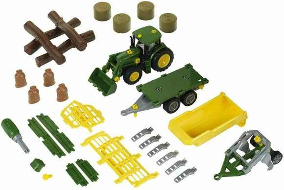 Klein John Deere 6215R Tractor with Wood and Hay Cart Trailer - TOYBOX Cyprus