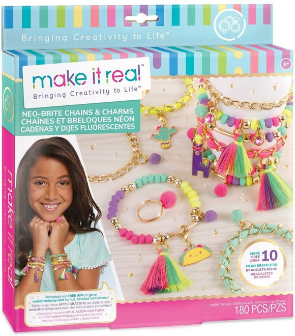 Make It Real 1313 - ‭Neo-Brite Chains and Charms DIY Gold Chain Charm Bracelet Making Kit for Girls - TOYBOX Toy Shop