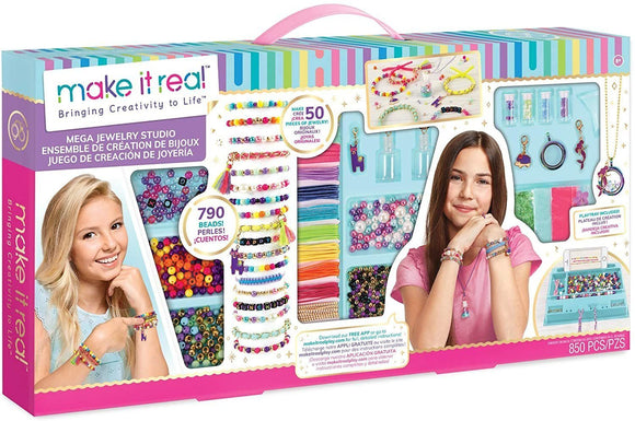 Make It Real - Mega Jewelry Studio - DIY Bead Necklace and Bracelet Making Kit - TOYBOX Toy Shop