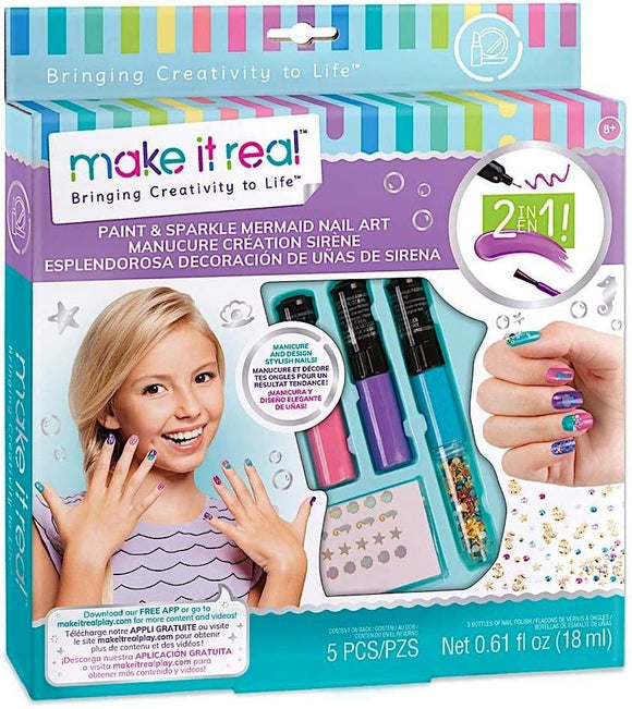 Make It Real - Paint & Sparkle Mermaid Nail Art Spa - TOYBOX Cyprus