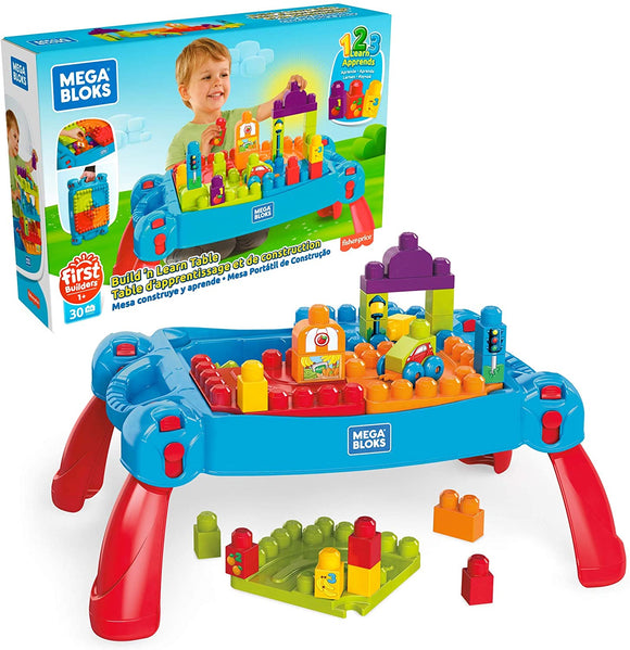 Mega Bloks Build & Learn Table Red/Blue - TOYBOX Cyprus