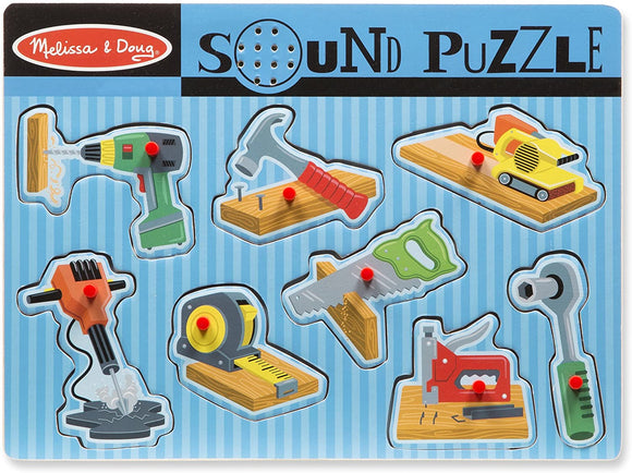 Melissa & Doug 10733 Construction Tools Sound Puzzle - Wooden Peg Puzzle (8pc) - TOYBOX Cyprus