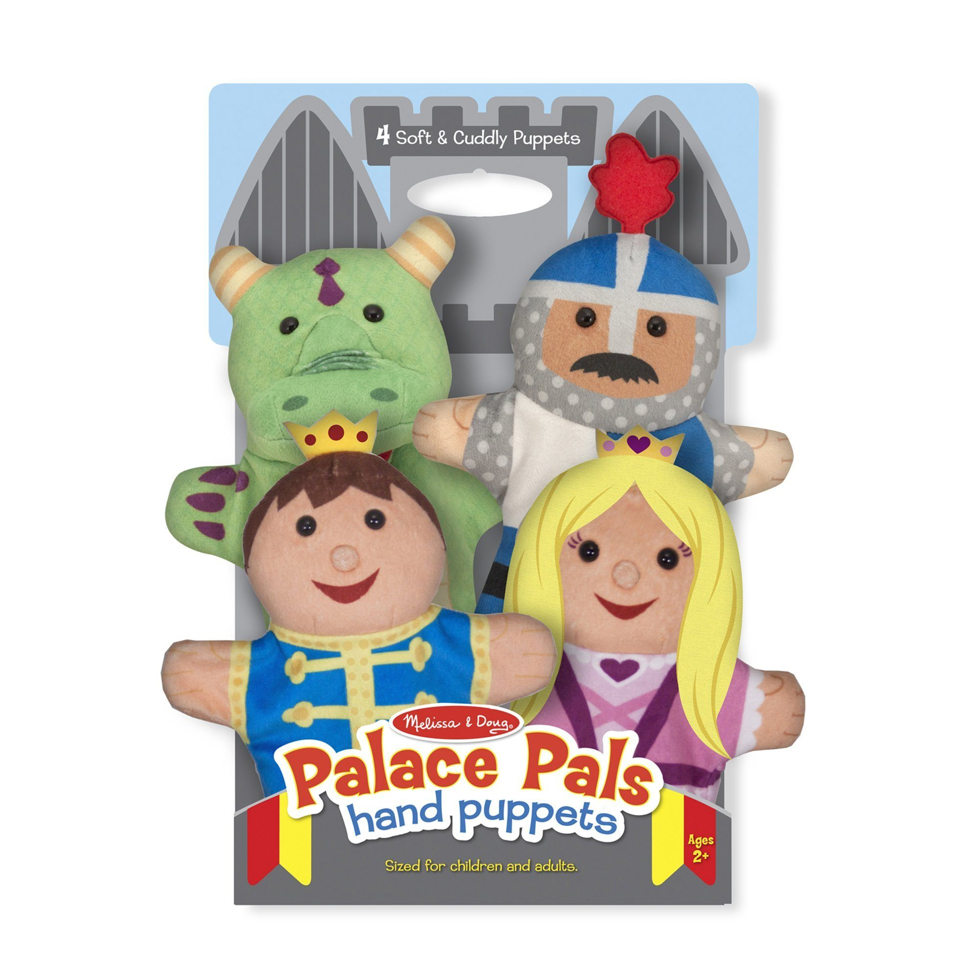 Melissa & Doug Palace Pals Hand Puppets (Set of 4) - Prince, Princess, Knight, and Dragon - TOYBOX Toy Shop