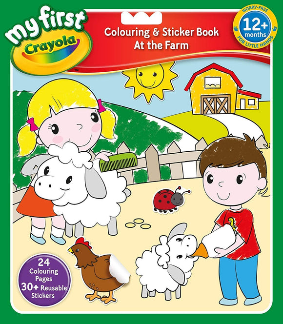 My First Crayola The Farm Colouring and Sticker Book Baby Toys Crayola