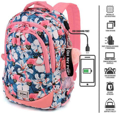 Oh My Pop Pink Scooter-Running HS Backpack Casual Daypack 44cm - TOYBOX Toy Shop