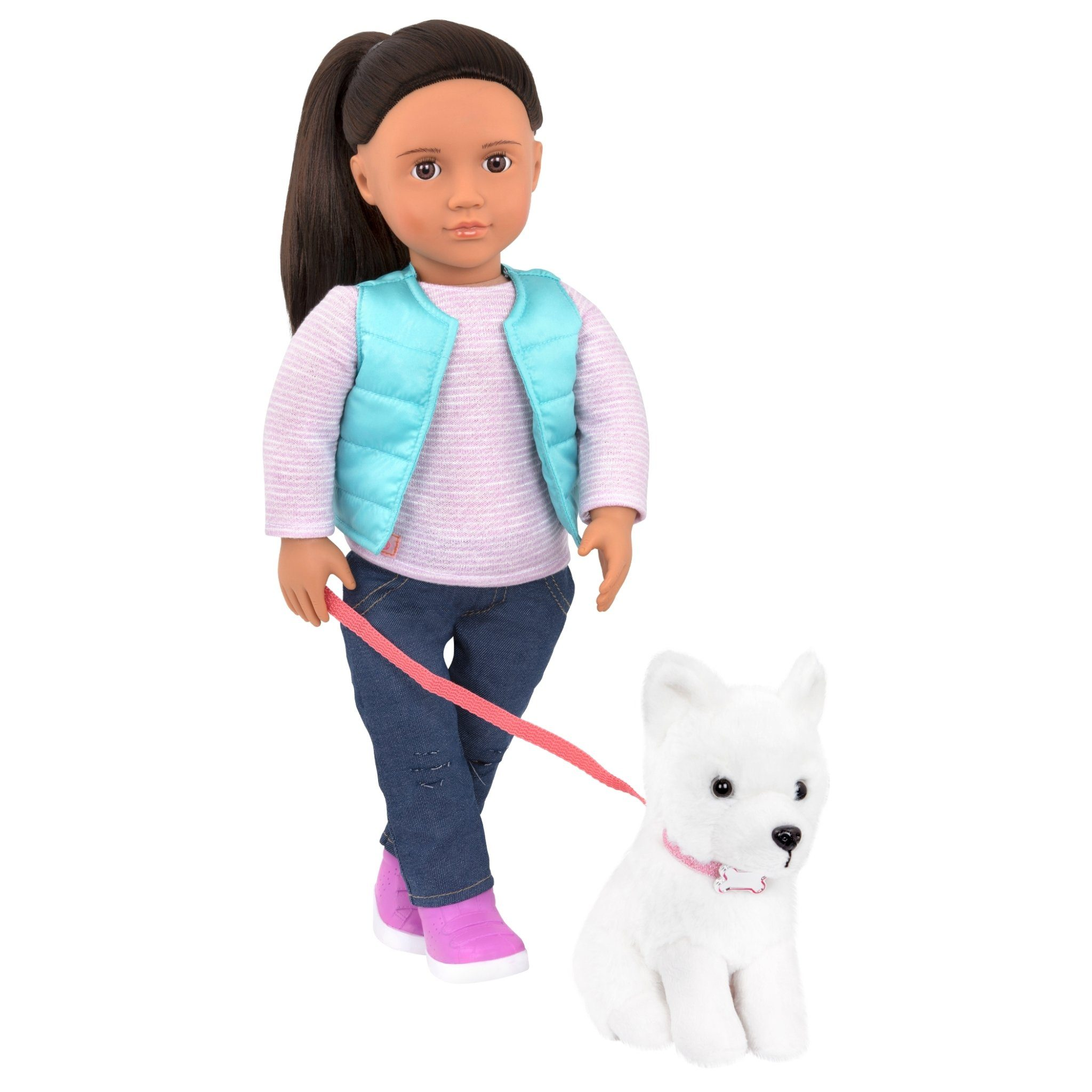 Our Generation Dolls Cassie and Pet Dog Samoyed BD31243Z - TOYBOX Toy Shop